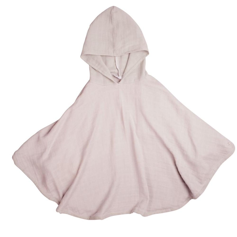 FABELAB Organic Cotton Muslin Poncho in Mauve