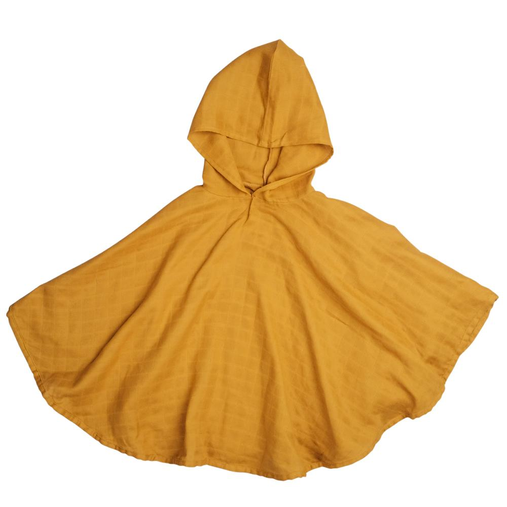 Organic Cotton Muslin Poncho in Ochre