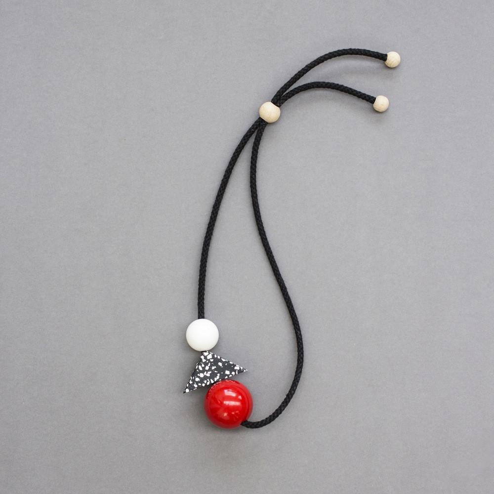 Teo Geometric Necklace with Red Ball, Speckled Resin and White Ball