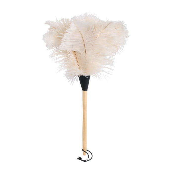 White Ostrich Feather Duster with Wooden Handle 50cm