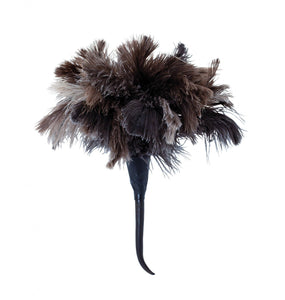 Black Ostrich Feather Duster with Springbuck Horn Grip Handle
