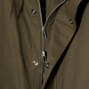 Cord Hood Zip Jacket in Khaki