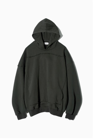 Cut Off Patch Pocket Hoodie in Charcoal