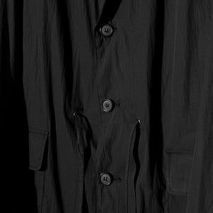 Single Gathering Coat in Black