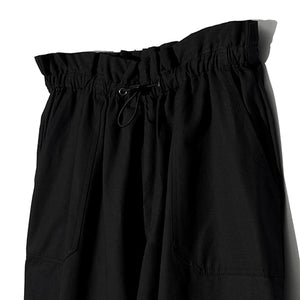 Washing Cotton Wide String Pants in Black