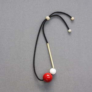 Popova Necklace with Brass Tube and Red Ball