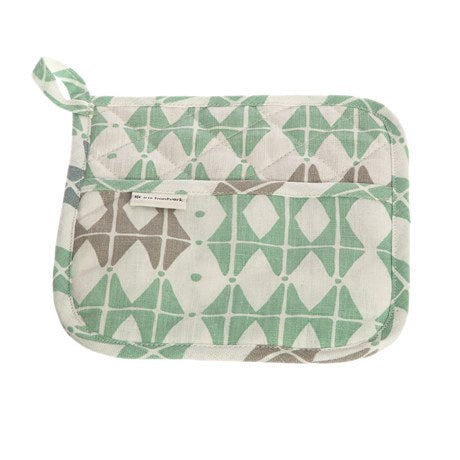 Frosty Green Rhombus Pattern Pot And Kettle Holder