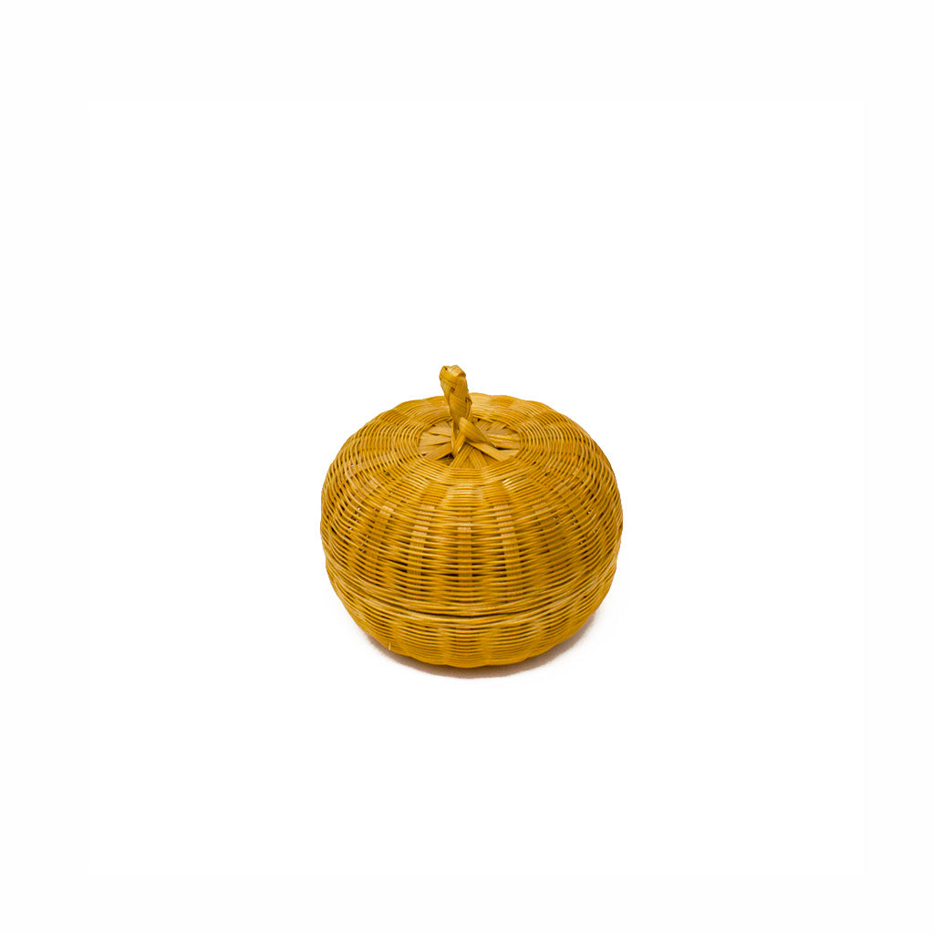 Rattan Apple Shape Mini Basket with a Lid