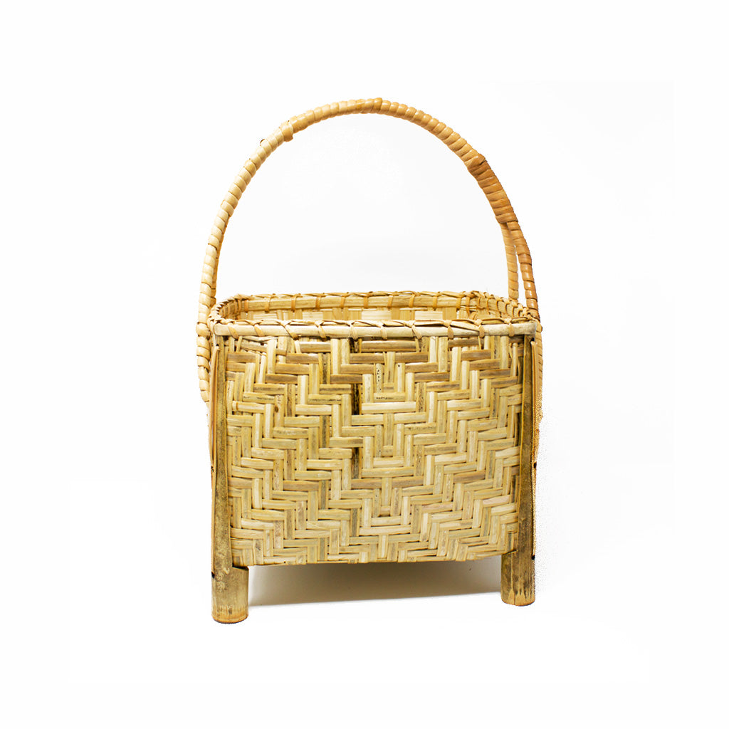Bamboo Square Basket with Rattan Handle and Legs
