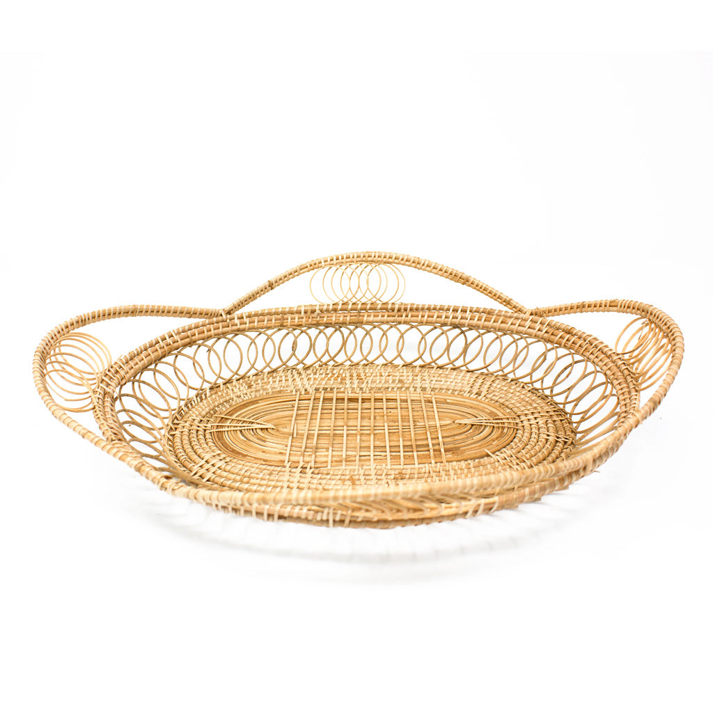 Rattan Oval Petal Tray in Large Size