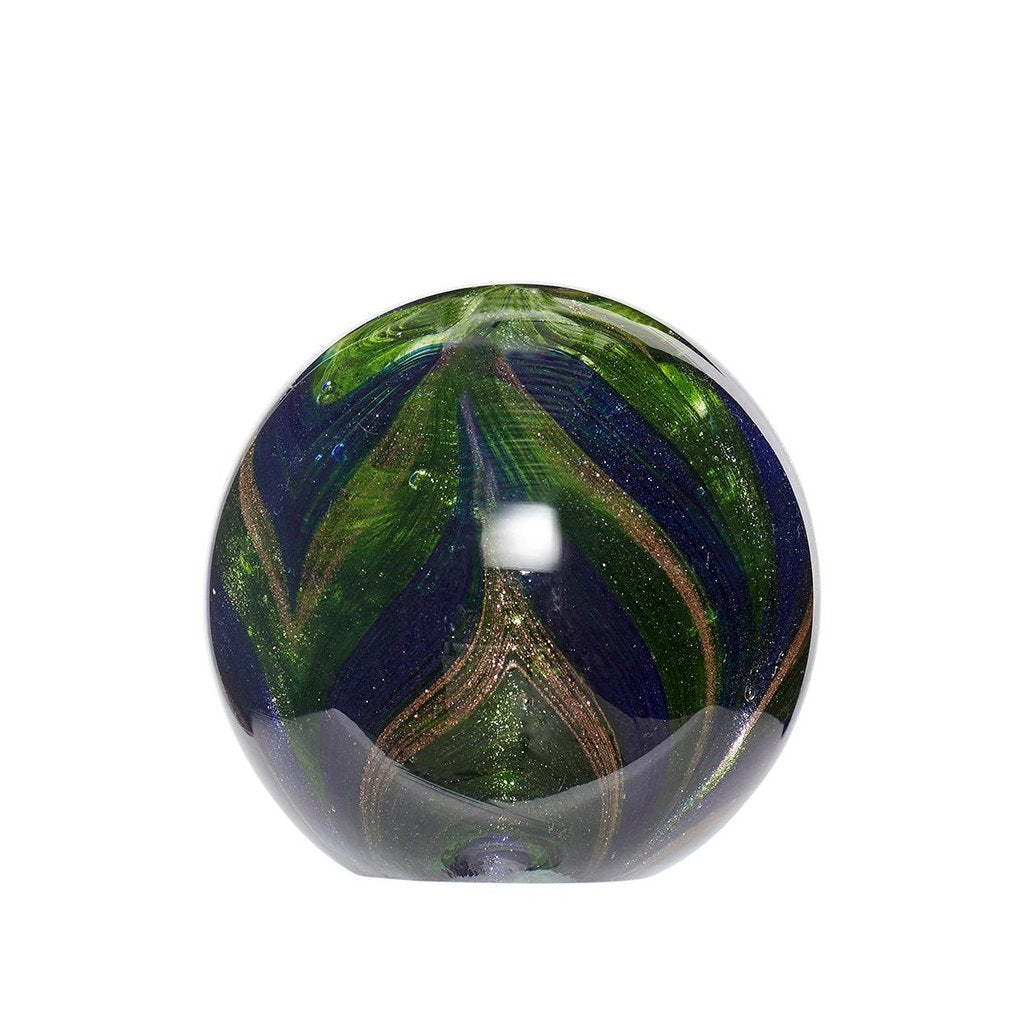 Festive Glass Paperweight with Gold Sparkles