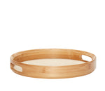 Bamboo Round Tray with Linen Bottom Large Size