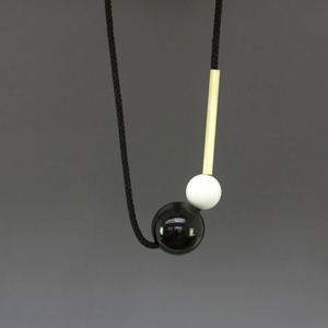 Marianne Necklace with Brass Tube and Black Ball