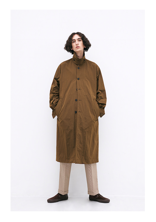 Ripstop Throat Latch Collar Trench Jacket in Khaki Brown
