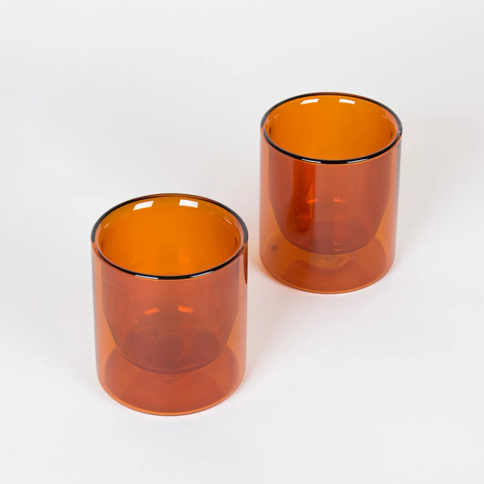 Set of Two Amber Double-Wall Glasses Short