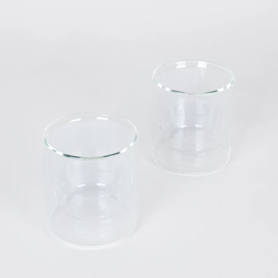 Set of Two Clear Double-Wall Glasses Short