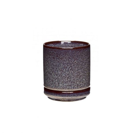 Plum Ceramic Pot with White Spots Small