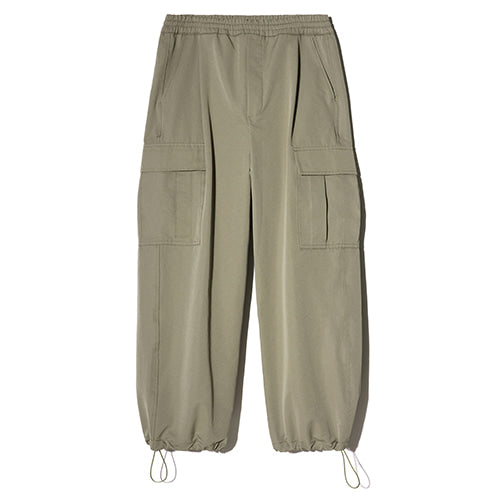 String Wide Cargo Jogger Pants in Khaki
