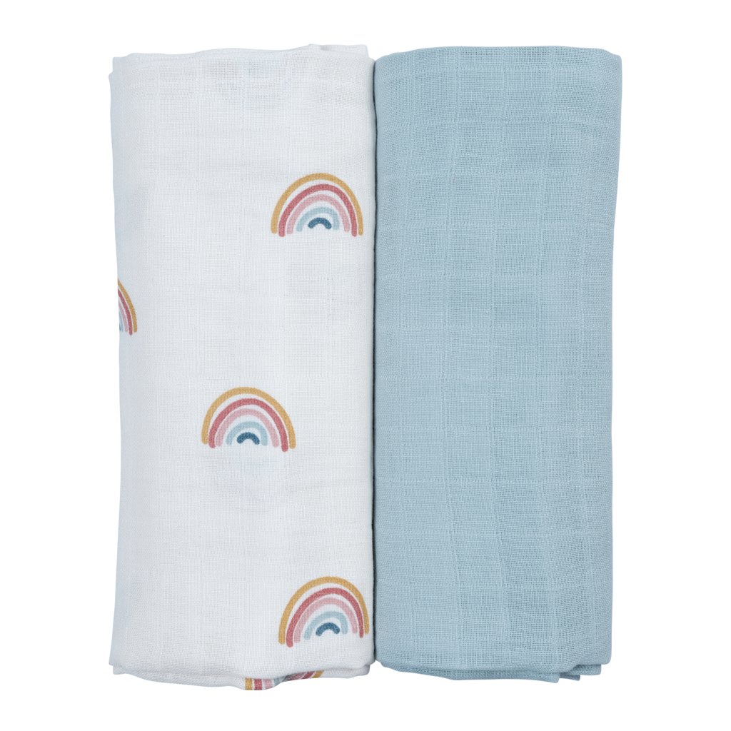 Organic Cotton Swaddle Gift Box Set - Rainbow