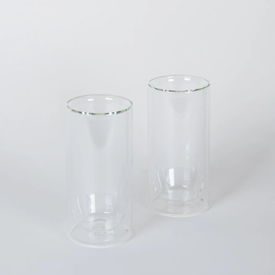 Set of Two Clear Double-Wall Glasses Tall
