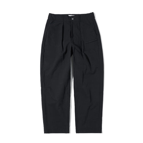 Semi High Waist Wide Tapered Pants in Black