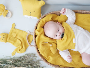 Baby Animal Cuddle with Cuddly Bear Face Honey Yellow