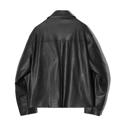 Vegan Leather Single Riders Jacket in Black