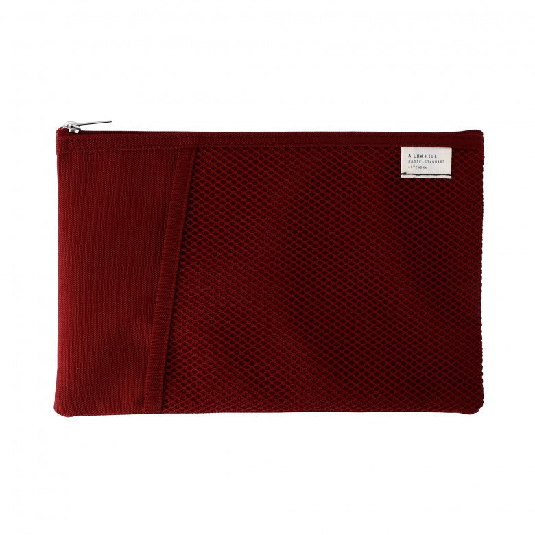 Mesh Pocket Daily Pouch in Burgundy