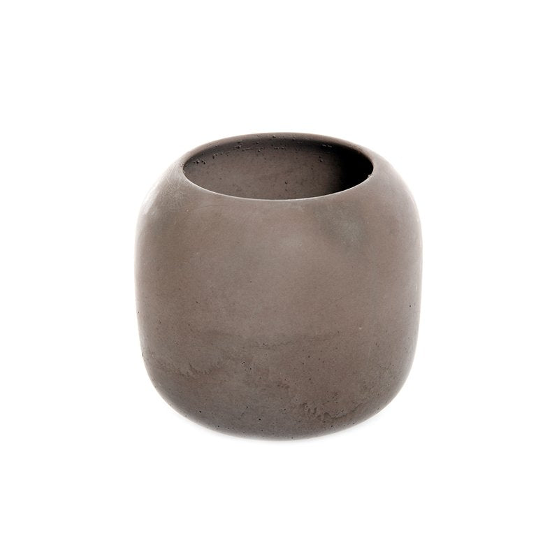 High Bowl Made of Soft Concrete in Brown