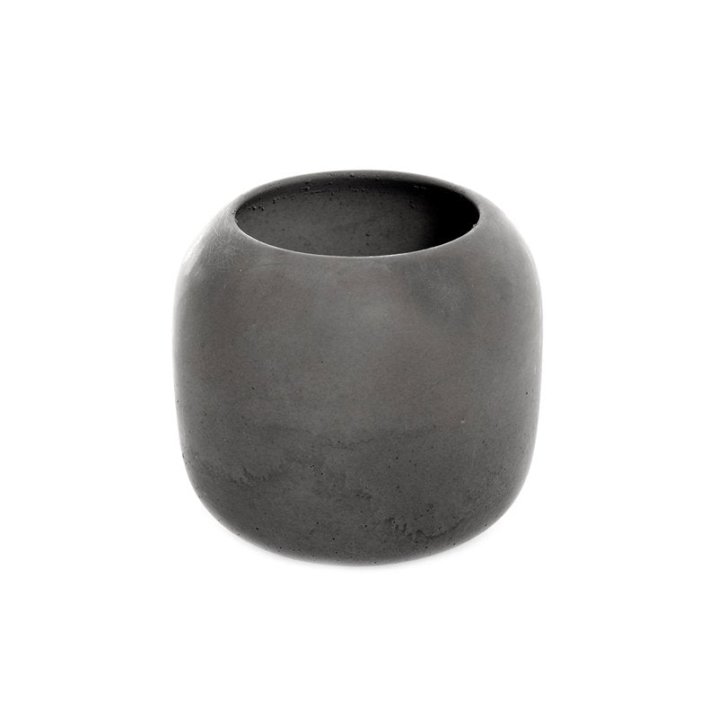 High Bowl Made of Soft Concrete in Dark Grey