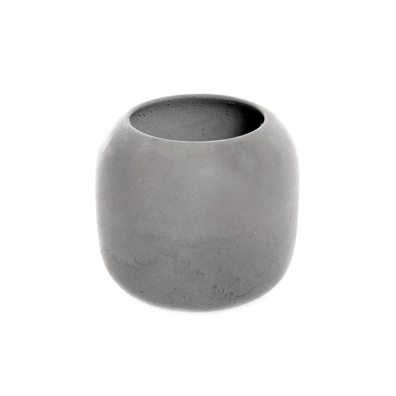 High Bowl Made of Soft Concrete in Grey