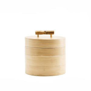Short Lidded Wooden Storage with Bamboo Handle