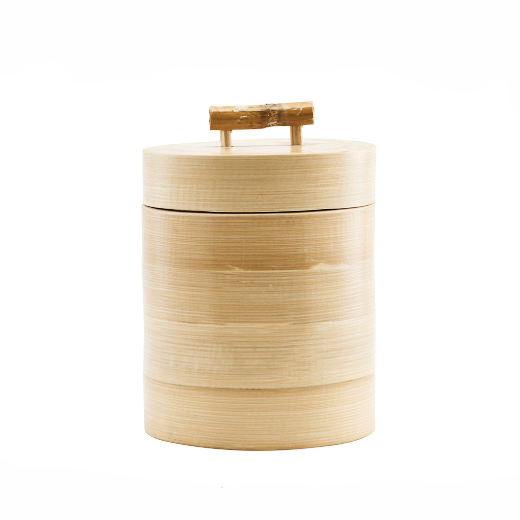 Tall Lidded Wooden Storage with Bamboo Handle