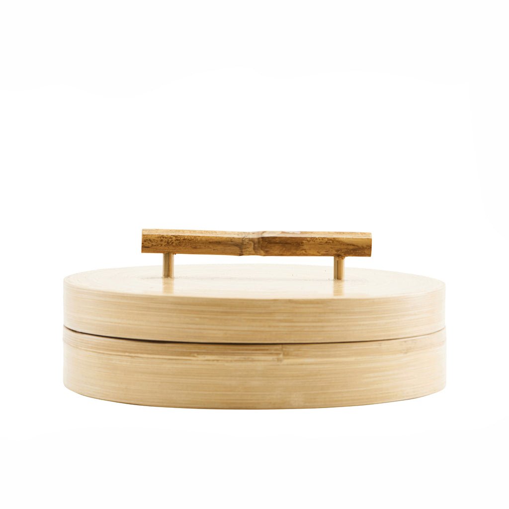 Wide Lidded Wooden Storage with Bamboo Handle
