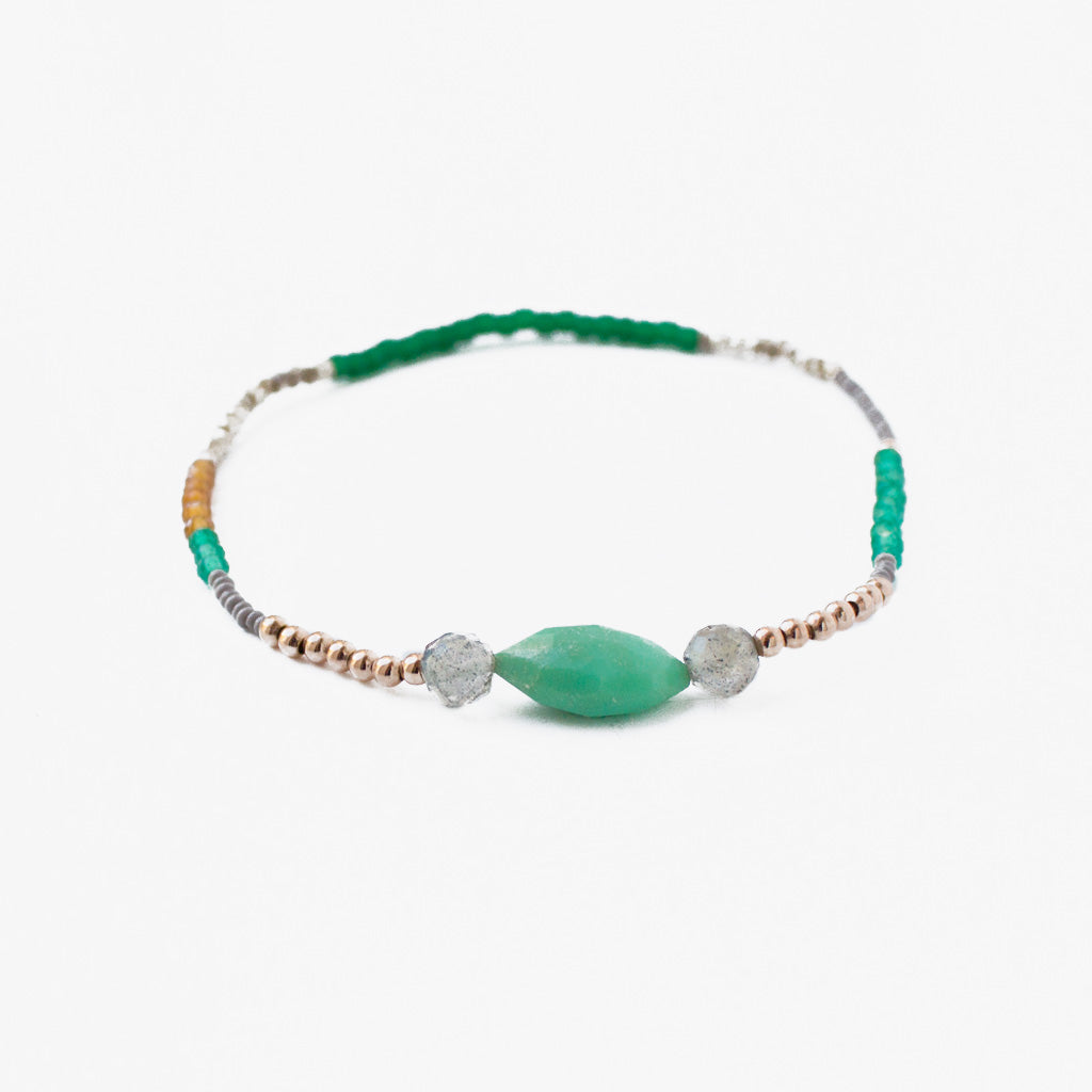 Curious Curious Bracelet with Gold Plated Beads and Green Gemstones