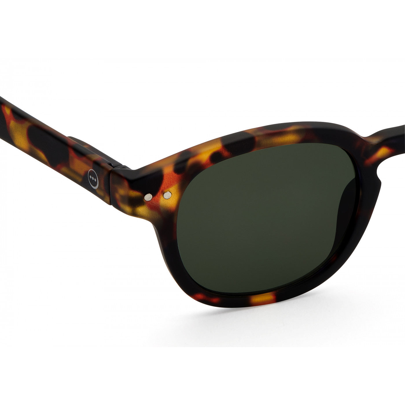 Sunglasses  - #C Shape Tortoise Frame with Green Lense
