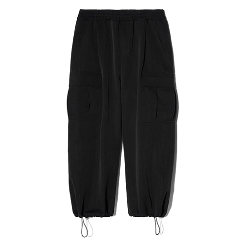 String Wide Cargo Jogger Pants in Black