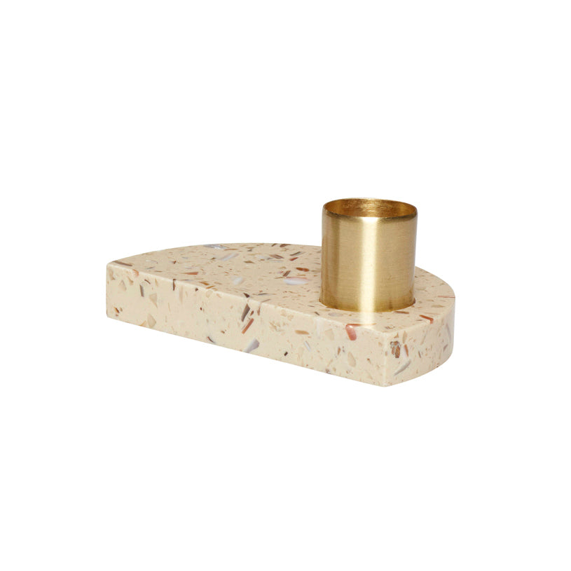 Half Moon Shaped Terrazzo Base Brass Candle Holder in Beige