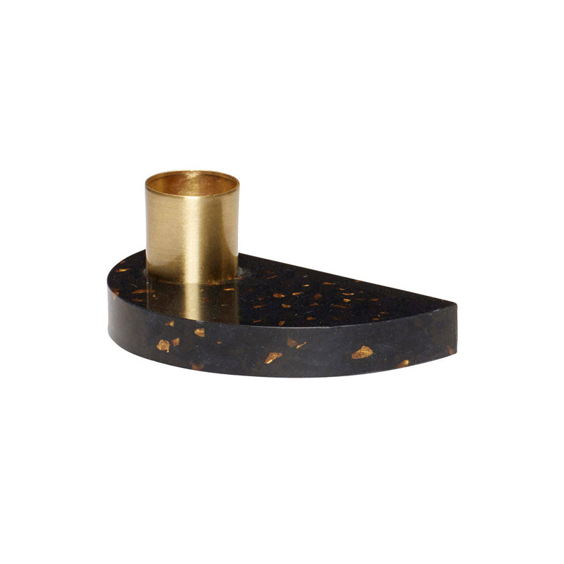 Half Moon Shaped Terrazzo Base Brass Candle Holder in Black