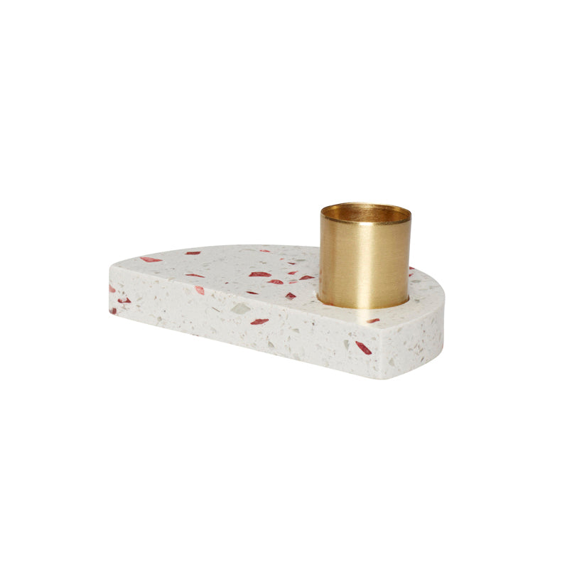 Half Moon Shaped Terrazzo Base Brass Candle Holder in Ivory