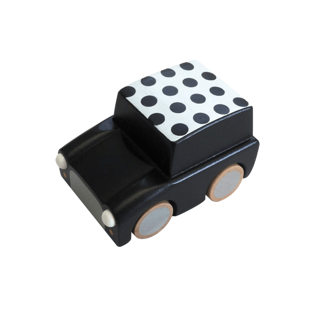 Classic Wooden Wind Up Car in Polka Dot Black