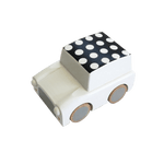 Classic Wooden Wind Up Car in Polka Dot White