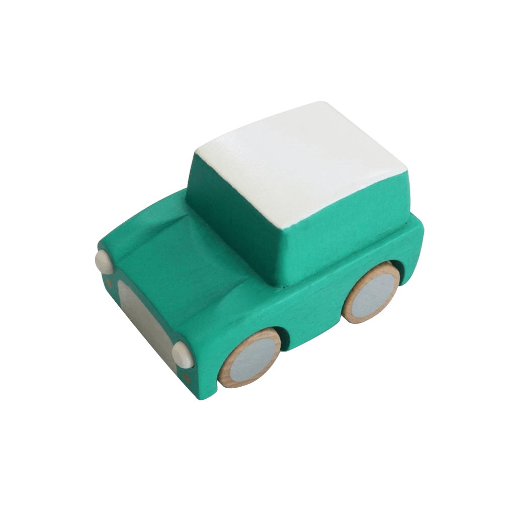 Classic Wooden Wind Up Car in Green