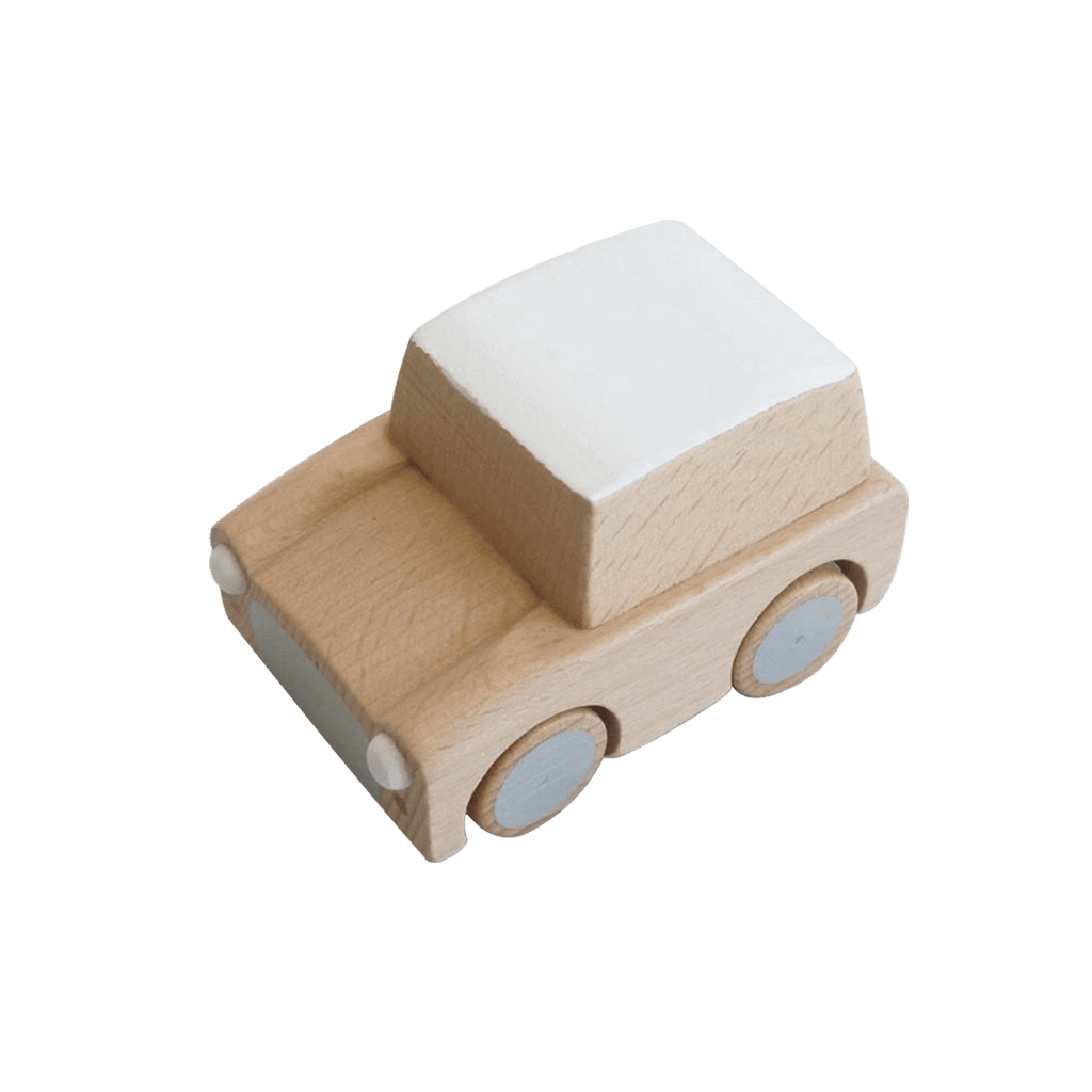 Classic Wooden Wind Up Car in Natural Wood