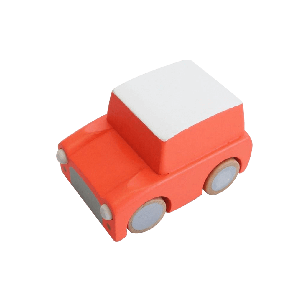 Classic Wooden Wind Up Car in Orange
