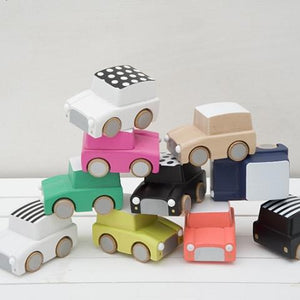 Classic Wooden Wind Up Car in Stripes White