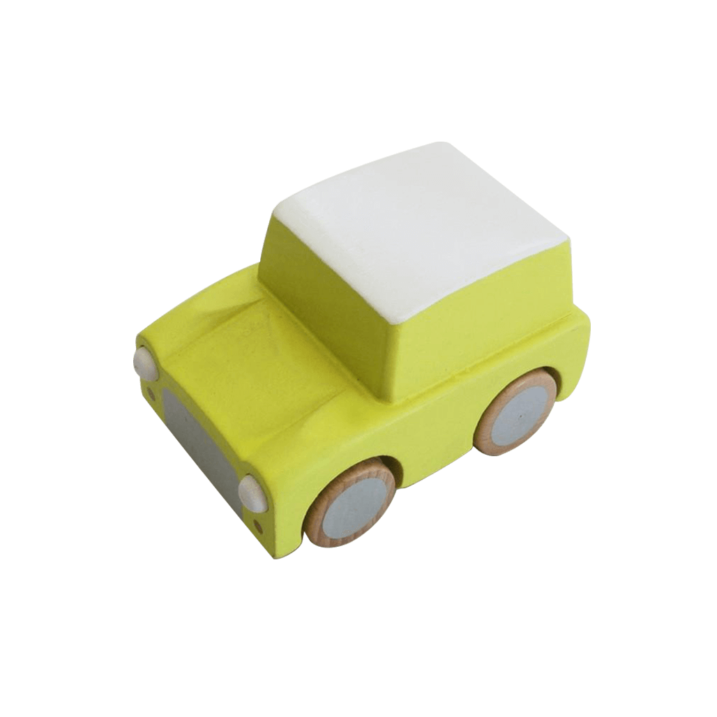 Classic Wooden Wind Up Car in Yellow