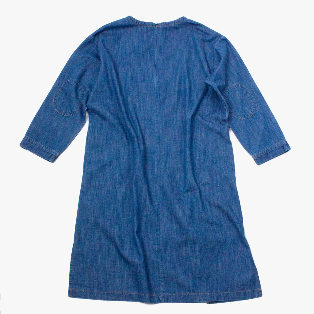 Denim Loose Fit Dress with Three Quarter Length Sleeves with Patched Elbows