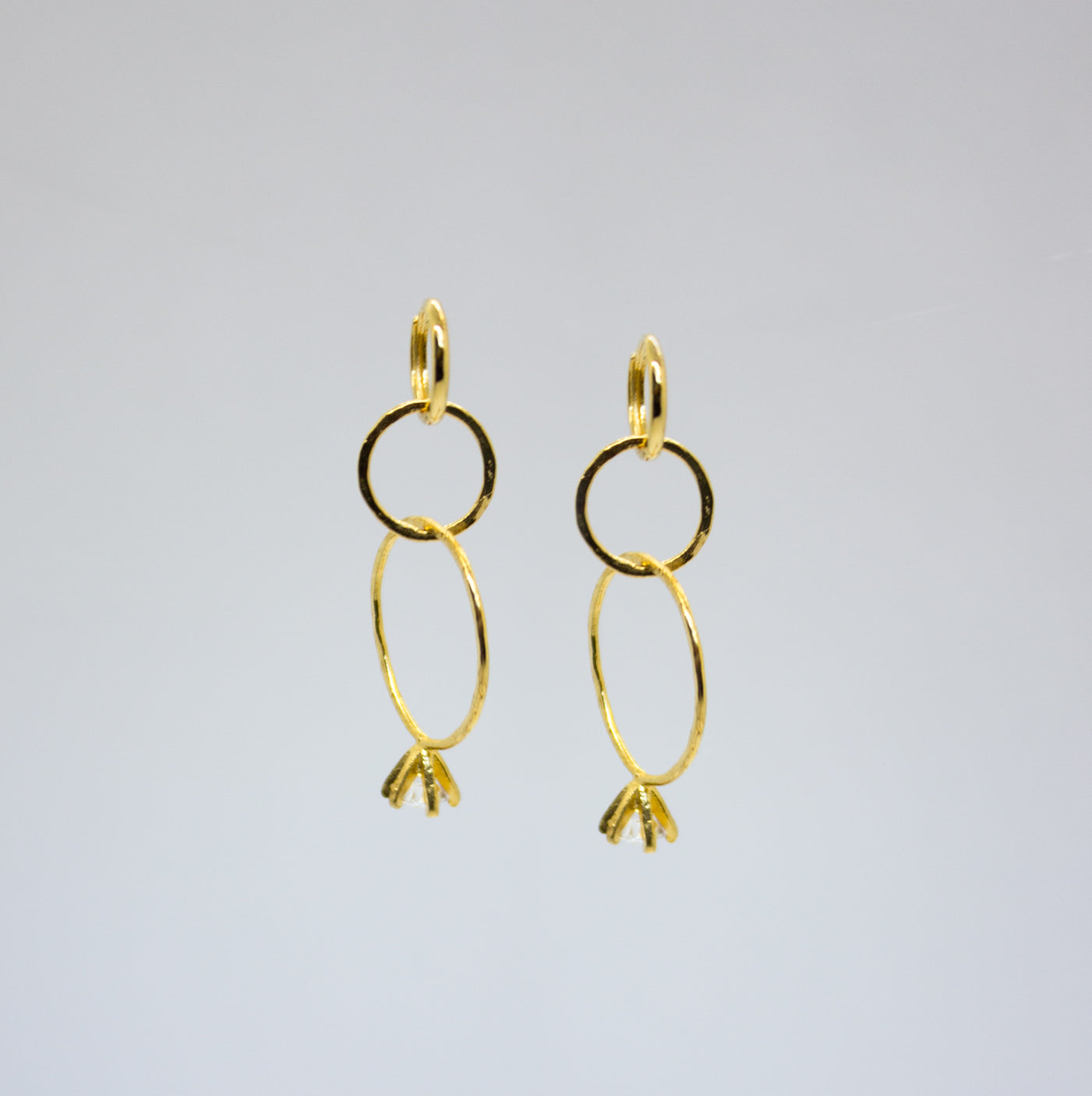 Earrings with Three Hoops and a Small Diamond