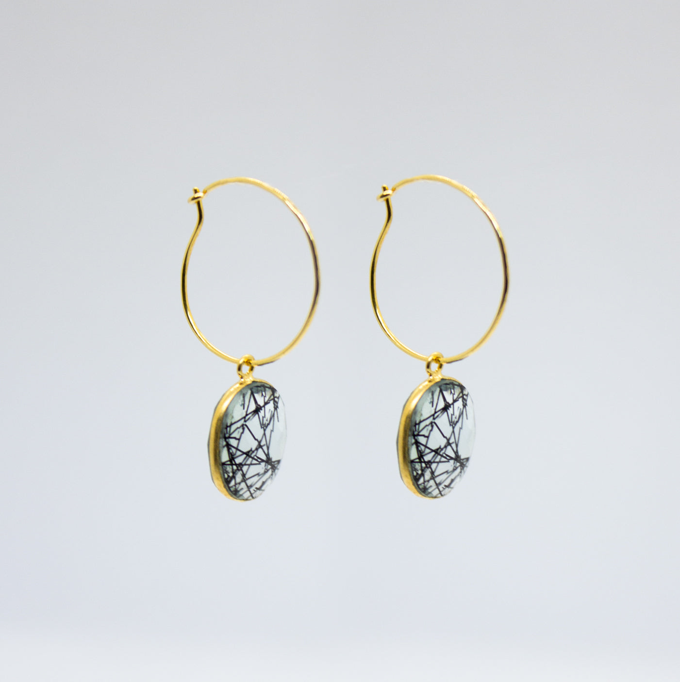 Earrings with Hoop and Black Gemstone Charm